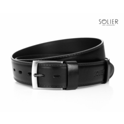 Elegancki czarny skórzany pasek męski SOLIER SB05