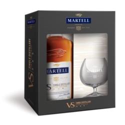 MARTELL VS SINGLE DISTILLERY 0,7L 40%, ZESTAW Z KIELISZKIEM